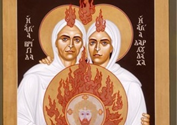 """Saints Brigid and Darlughdach of Kildare"" by Robert Lentz"