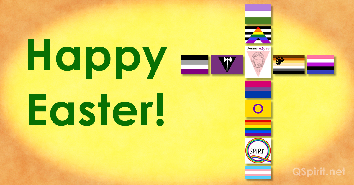 LGBTQ+ Flag Cross Happy Easter no words