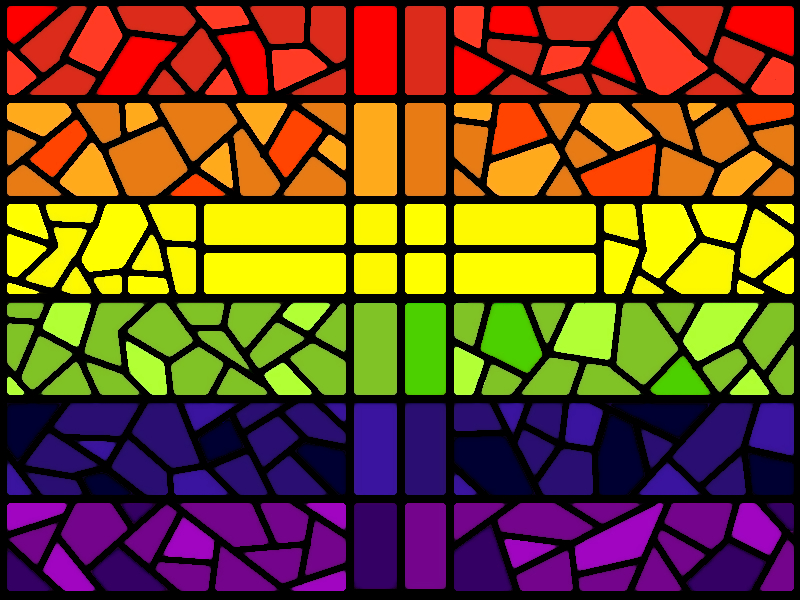 Rainbow Stained Glass Window with Cross