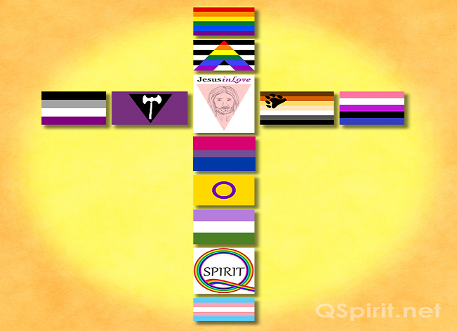 LGBTQ Flag Cross - horizontal
